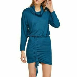 Free People Sun Down Mini Dress Dark Green Ruched